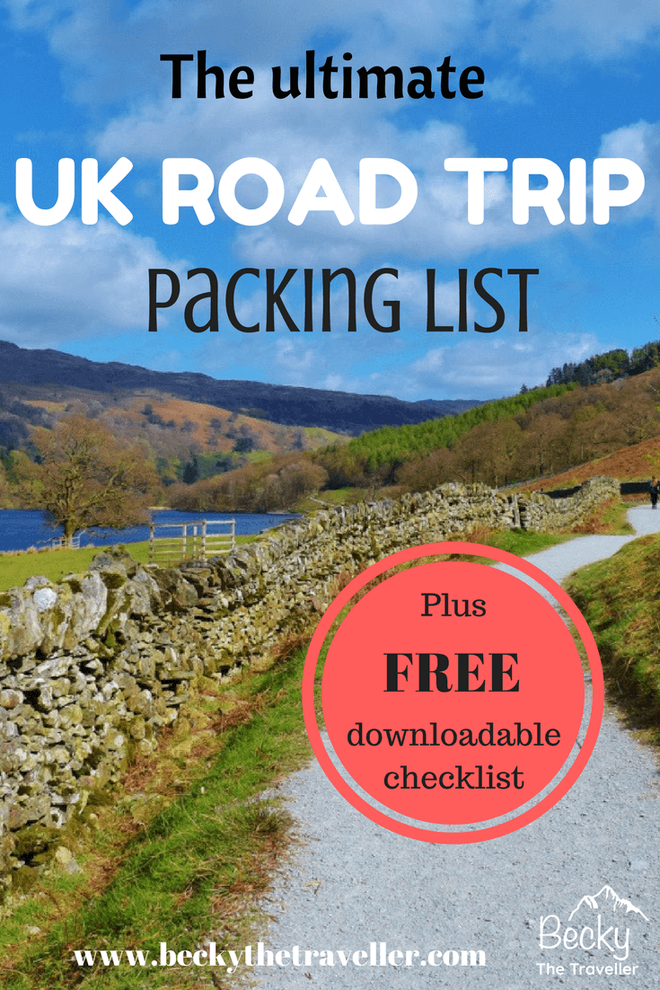 The ultimate UK road trip packing list. From boring items to those must essentials. This list has everything you need to pack for the perfect road trip in the United Kingdom. Planning a road trip in the UK? Here's how to plan the perfect journey without forgetting any of the essential items. Includes a free checklist. Topics, emergency car gear, technology, personal items! Driving in the UK | Road trip | United Kingdom | Holiday Checklist
