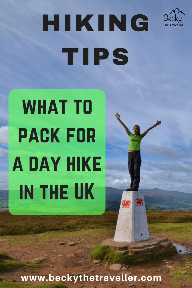 What to pack for a day hike in the UK. The United Kingdom has so many different weather conditions that you might wonder what you should wear and take on your day hikes? Here's the ultimate list of everything I pack in my rucksack for my day hikes and walks in the UK coutnryyside and National Parks. Be sure to check it out so you don't forget anything important. Hiking tips. Packing tips