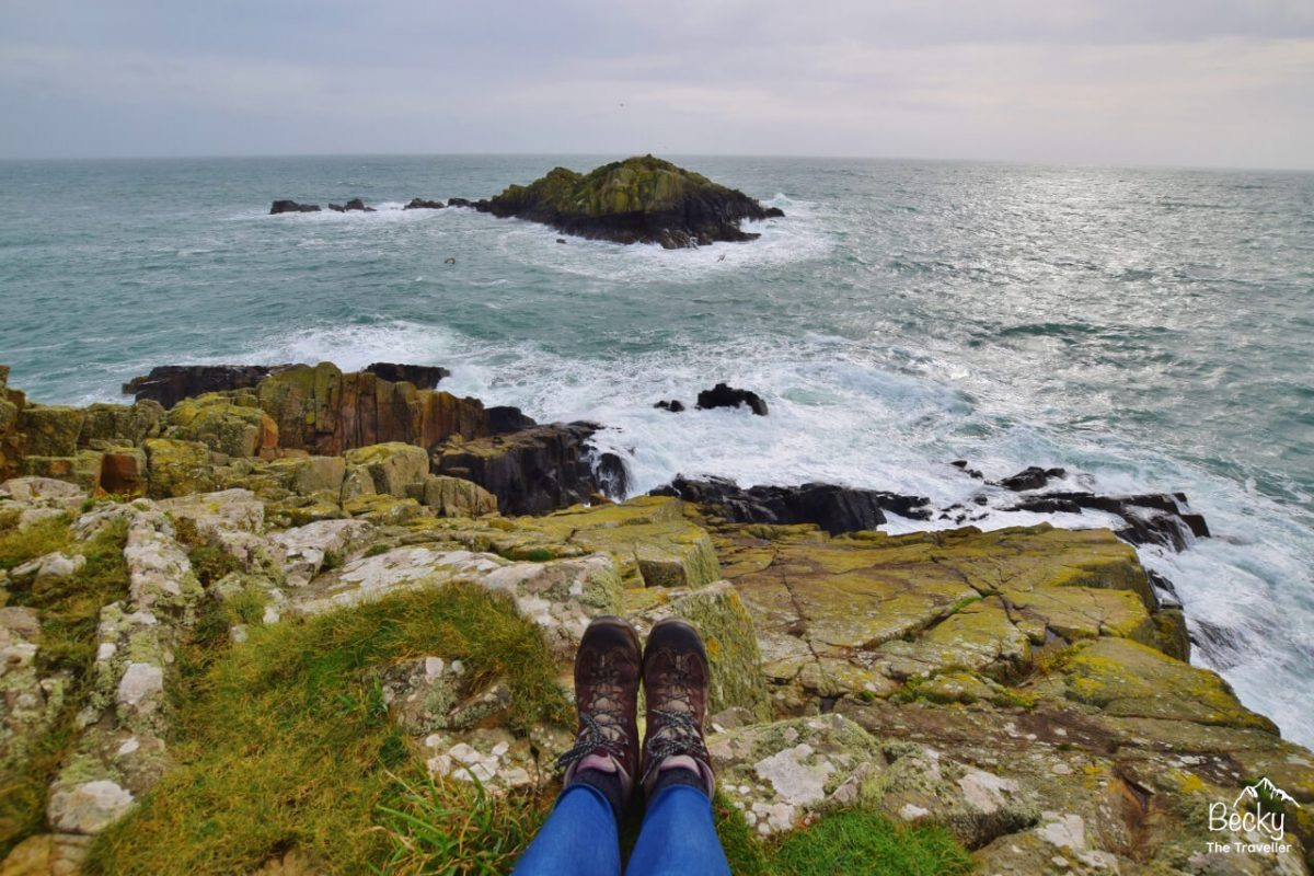 Sat on the point at St David's on Pembrokeshire Coast