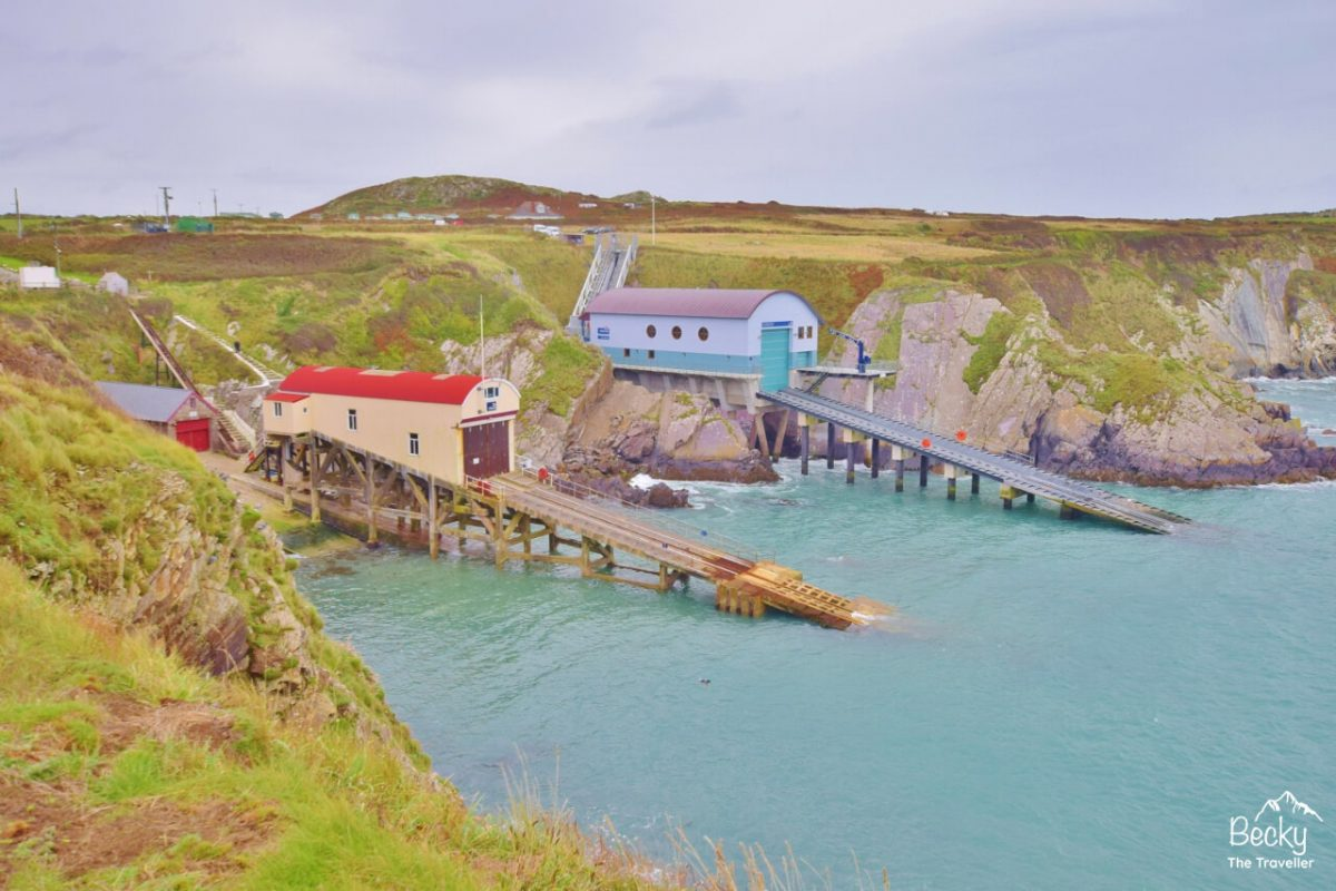 St Justinians Lifeboat Stations (old and new) on Pembrokeshire Coast