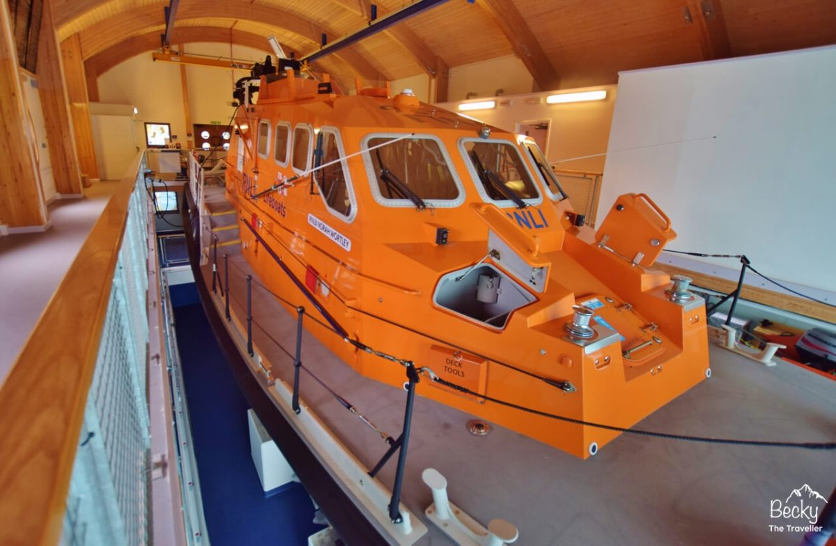 Inside the lifeboat station