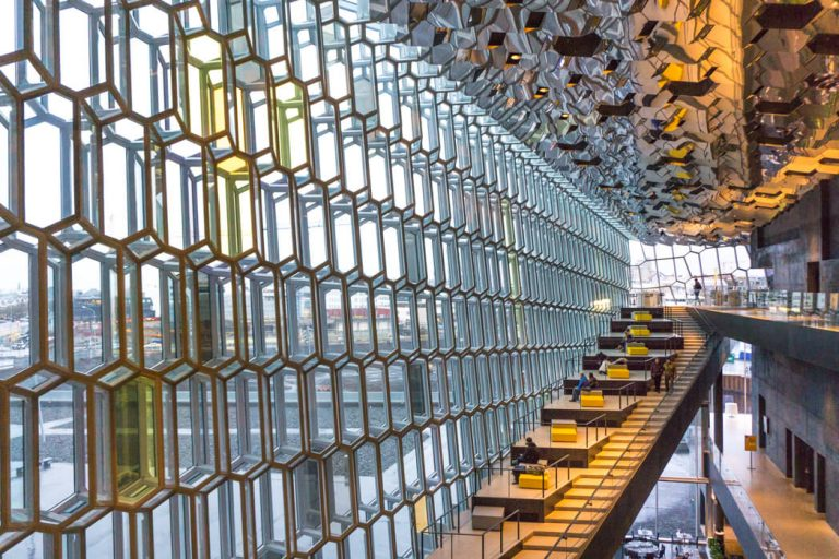 Glass inside the Harpa museum Reykjavik - Free things to do in Reykjavik