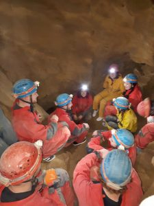 Our group caving in Budapest