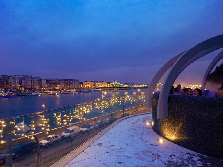 Best baths in Budapest - Rudas bath overlooking the city at night