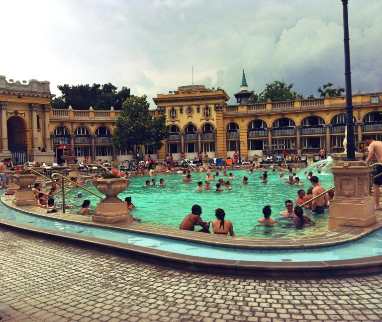 Best baths in Budapest - Outside at Széchenyi baths