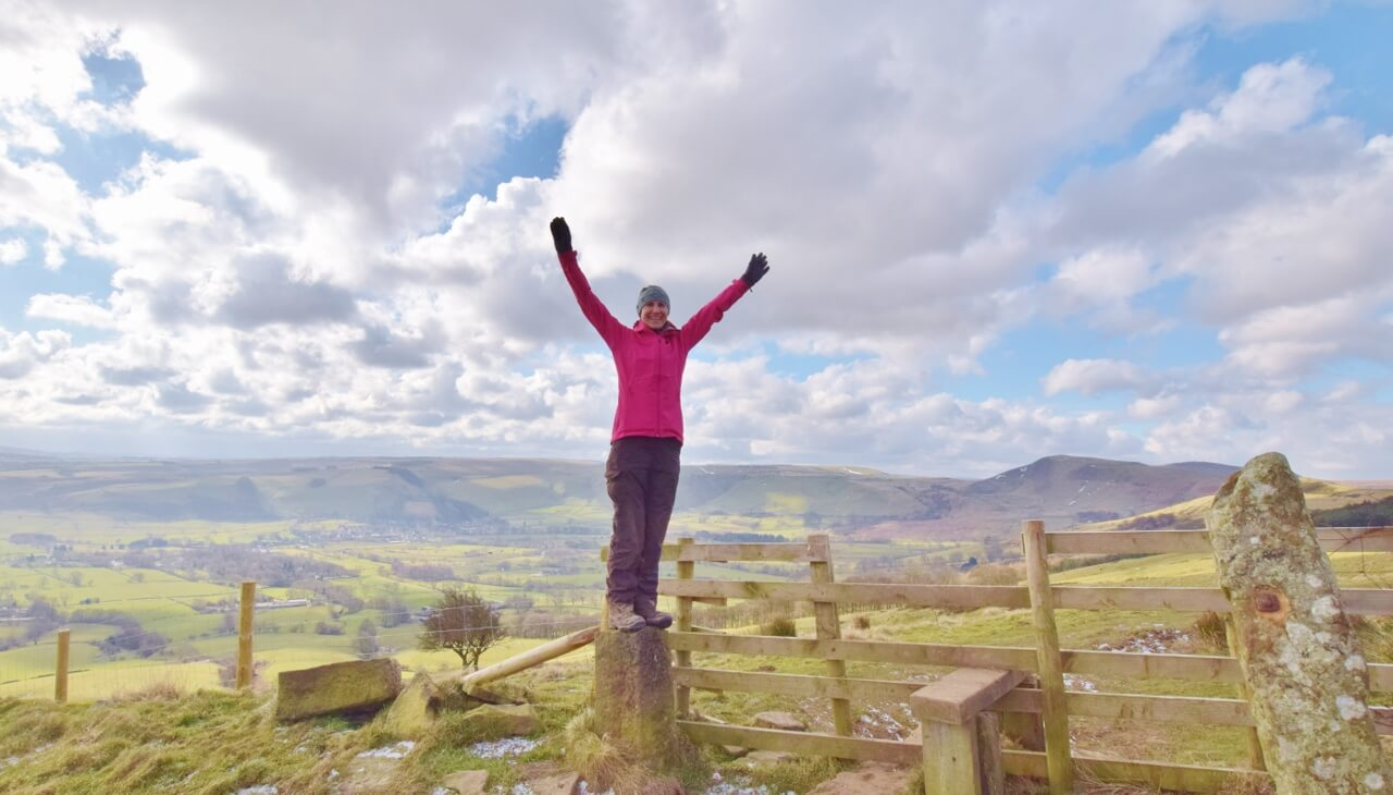Hiking in Peak District in winter months