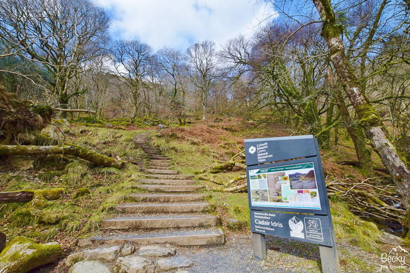 Sign and steps at start of Minffordd Path