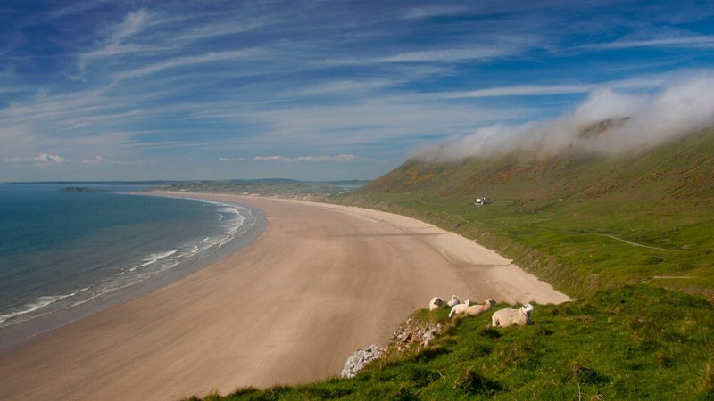 Rhossili on Gower Coast Walk - long distance hike in Wales