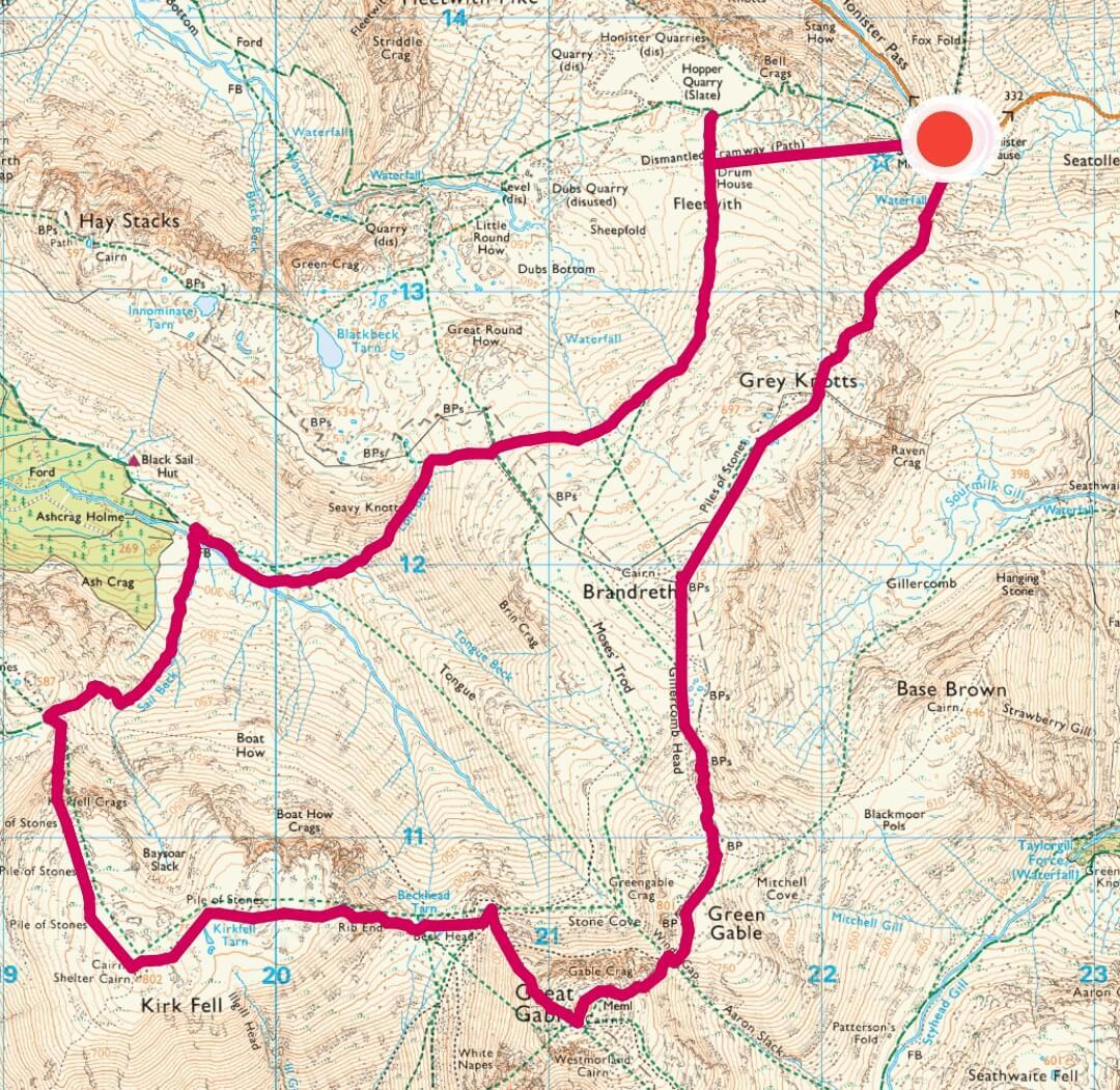 Borrowdale walk 4 - Fell walking Grey Knotts, Brandreth, Green Gable, Great Gable + Kirk Fell-2