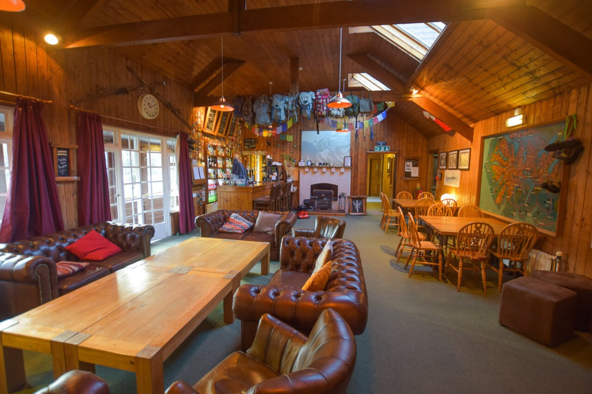 Inside YHA Borrowdale - Bar and social area