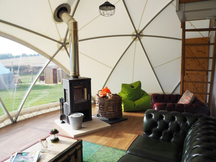 Glamping in the UK - Lounge area in the dome