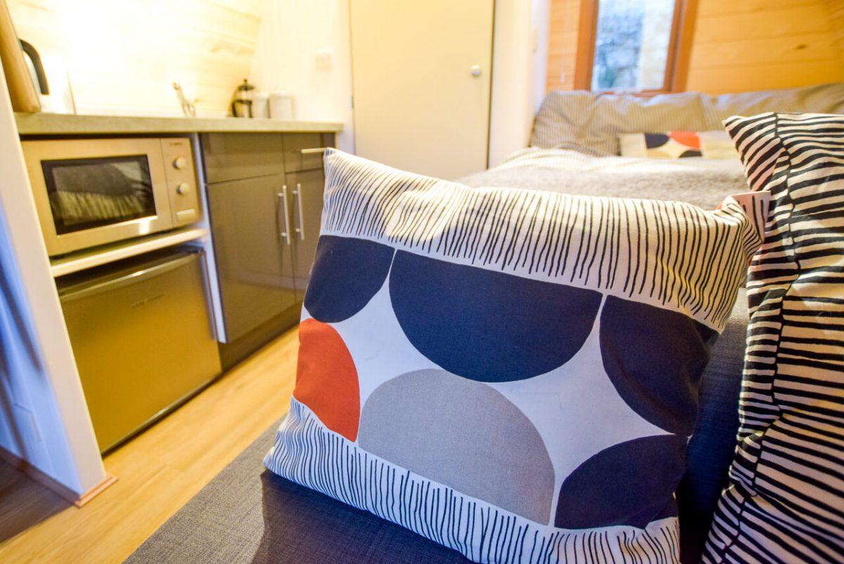 Homemade cushions inside the pod