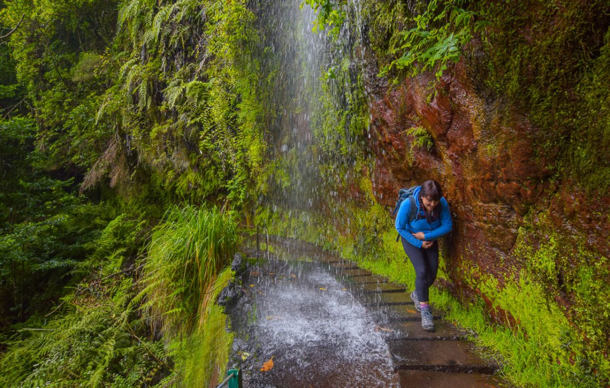 Levada do Rei walk, Madeira waterfall