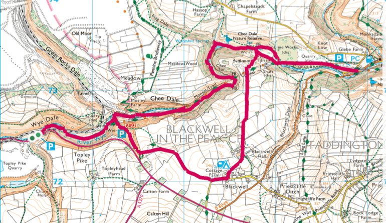 Chee Dale walk map Peak District
