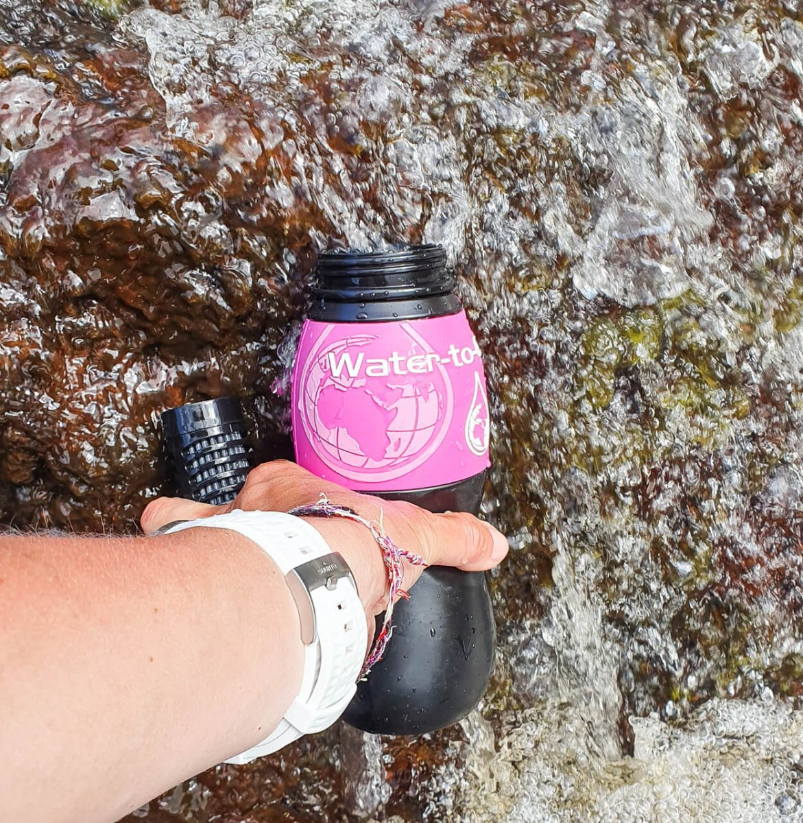 water to go water bottle and waterfall