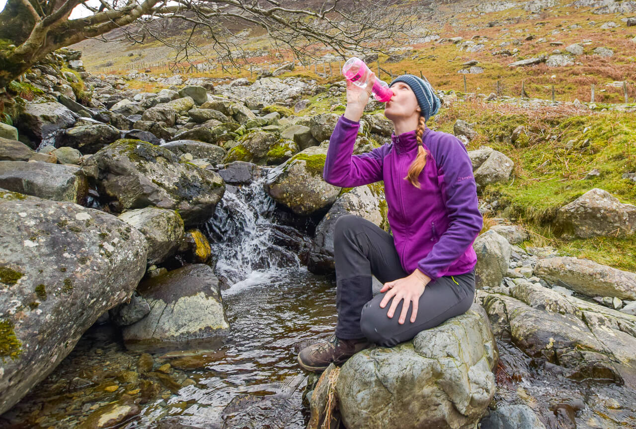 Drinking from water to go by stream
