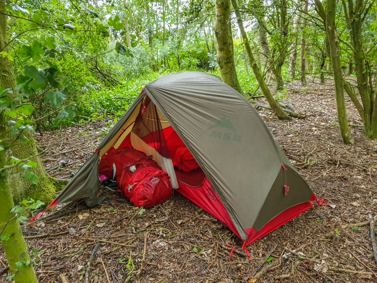 Wild camping in some woods on my E2W Challenge
