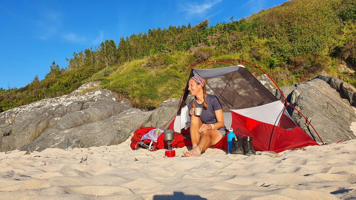 Hubba NX Wild camping on a beach in Scotland