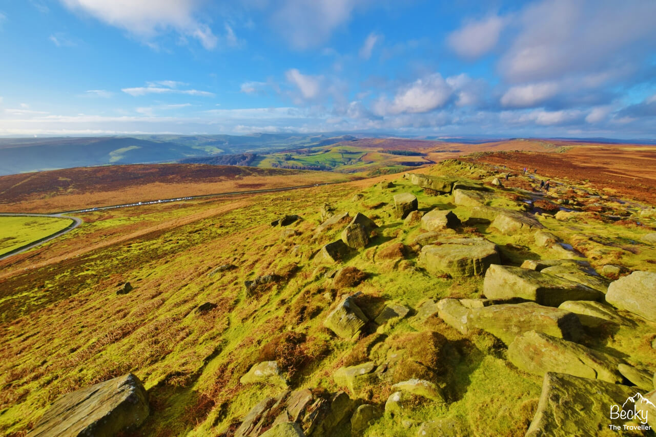 Views of moorland from Stanage Edge in the Peak District