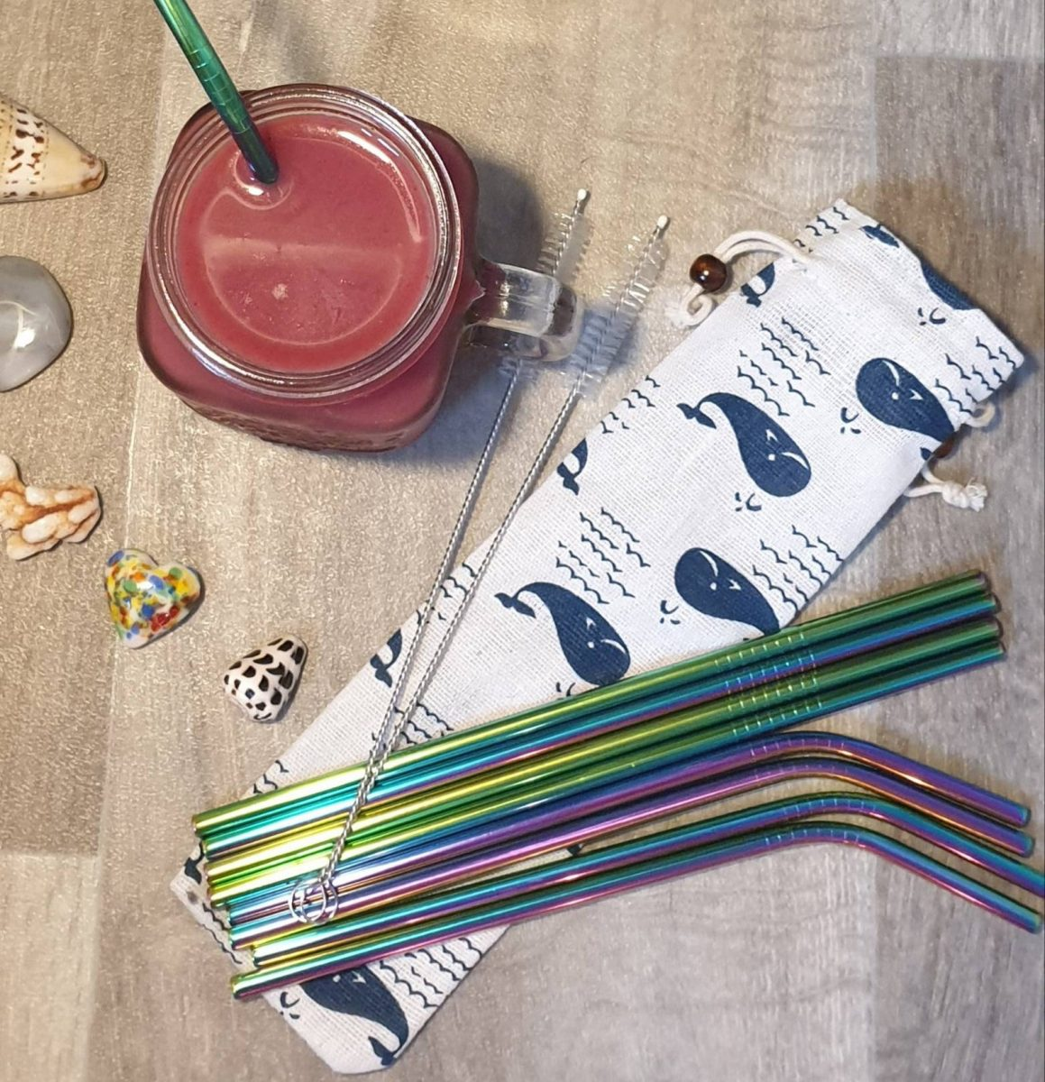 Eco friendly metal straw set
