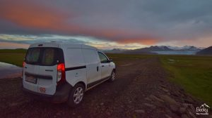 Driving in Iceland - sunset views