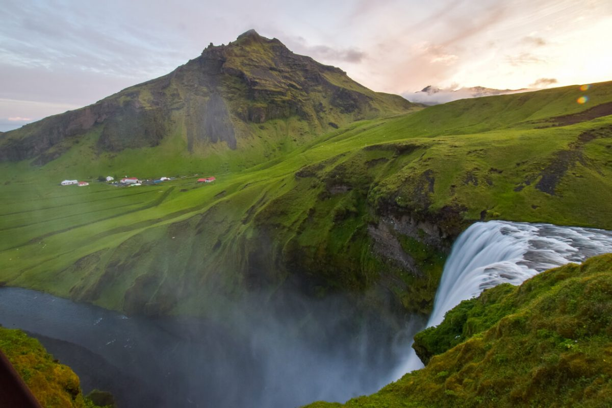 Iceland mountain and waterfall