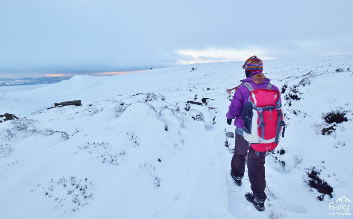 Hiking in the snow in the Peak District