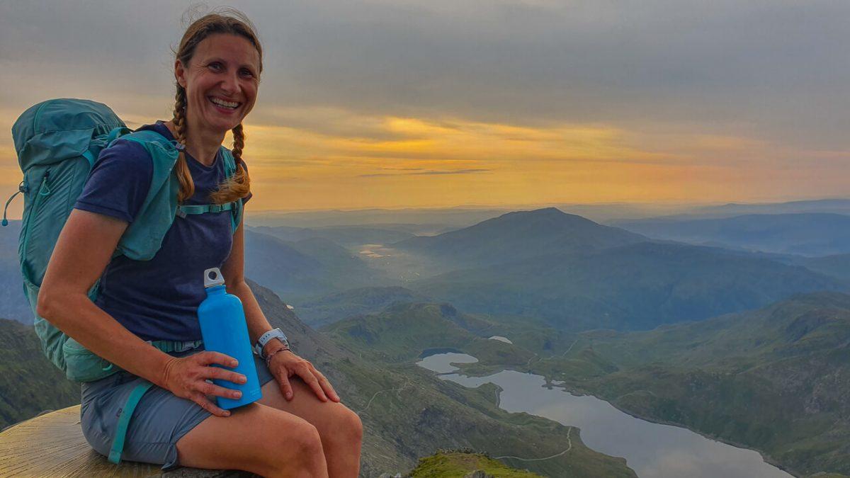 Snowdon summit with metal water bottle