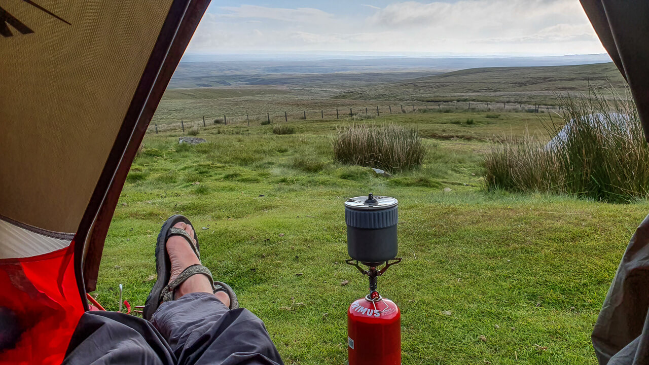 Wild camping - views from tent