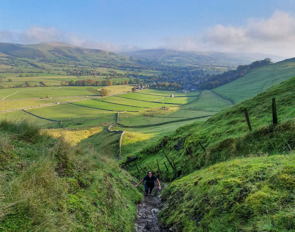 Hiking up Winnats Pass