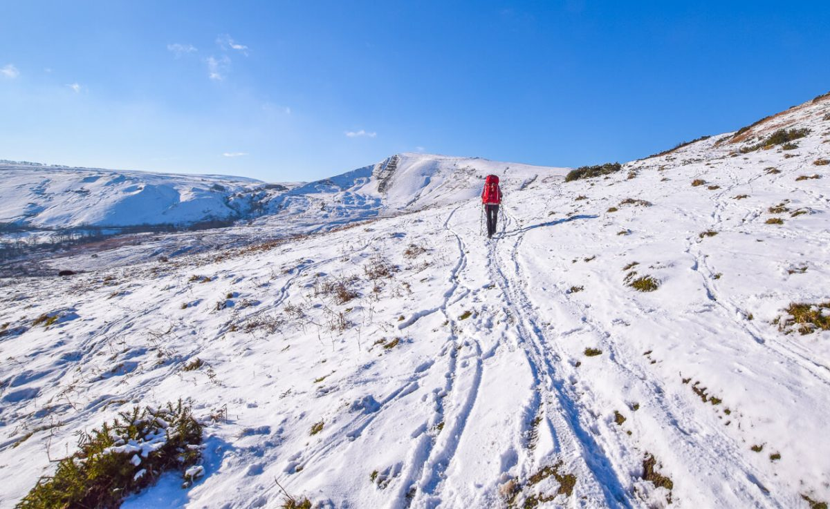 Walking in snow in Peak District