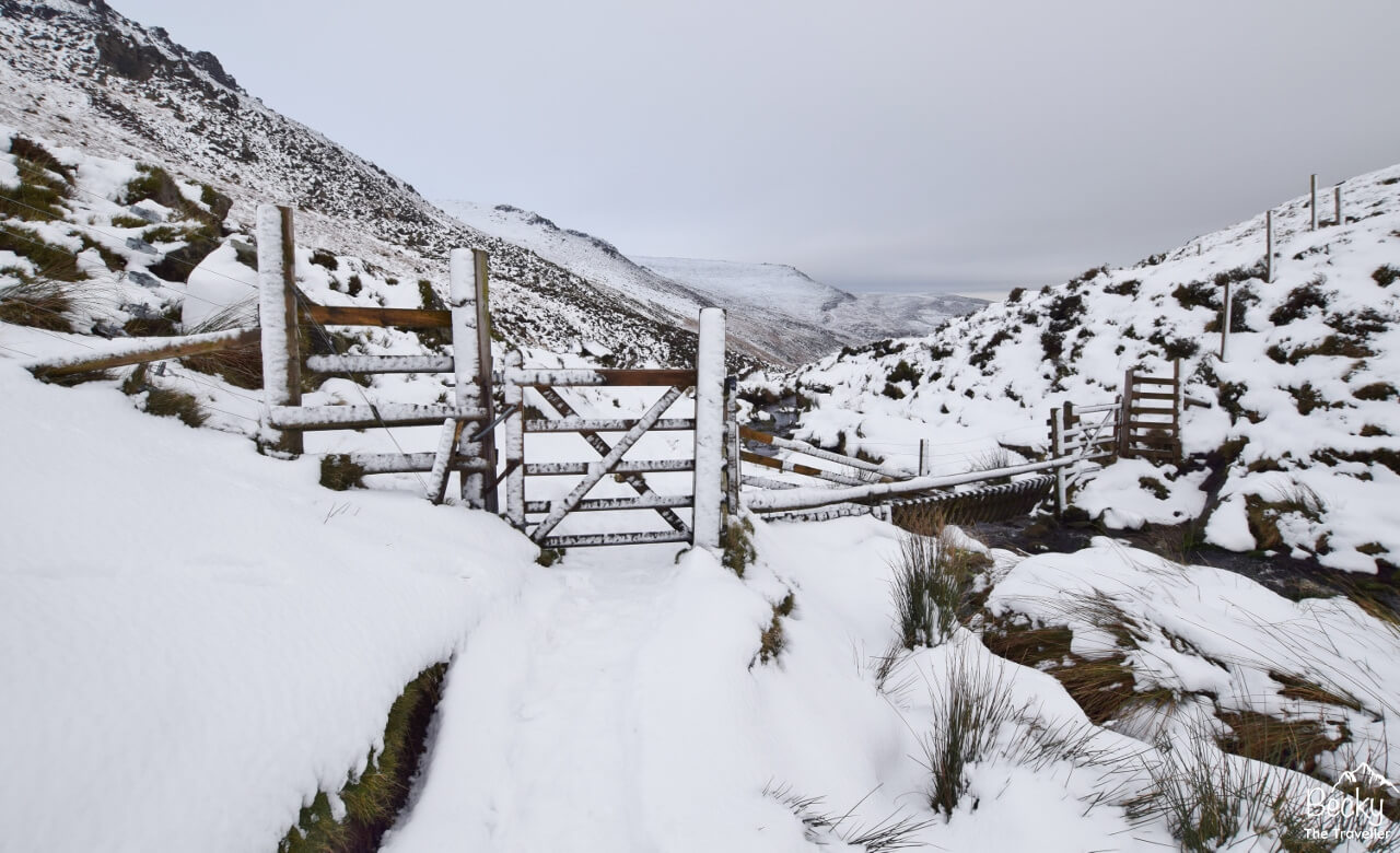 Snowy path and gate in Peak District