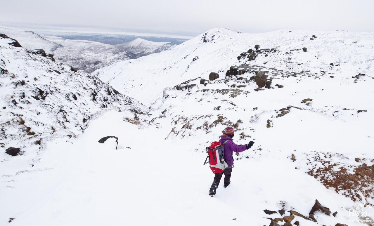 Having fun in the snow at the top of Grindsbrook Clough