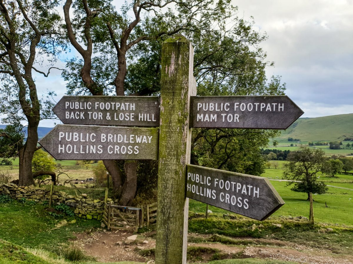 Fingerpost in Peak District
