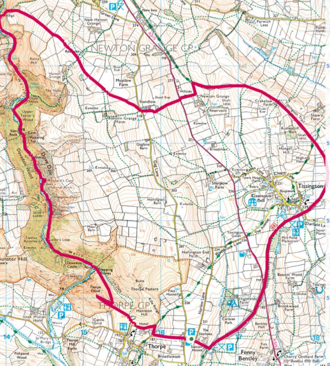 Dovedale circular walk map