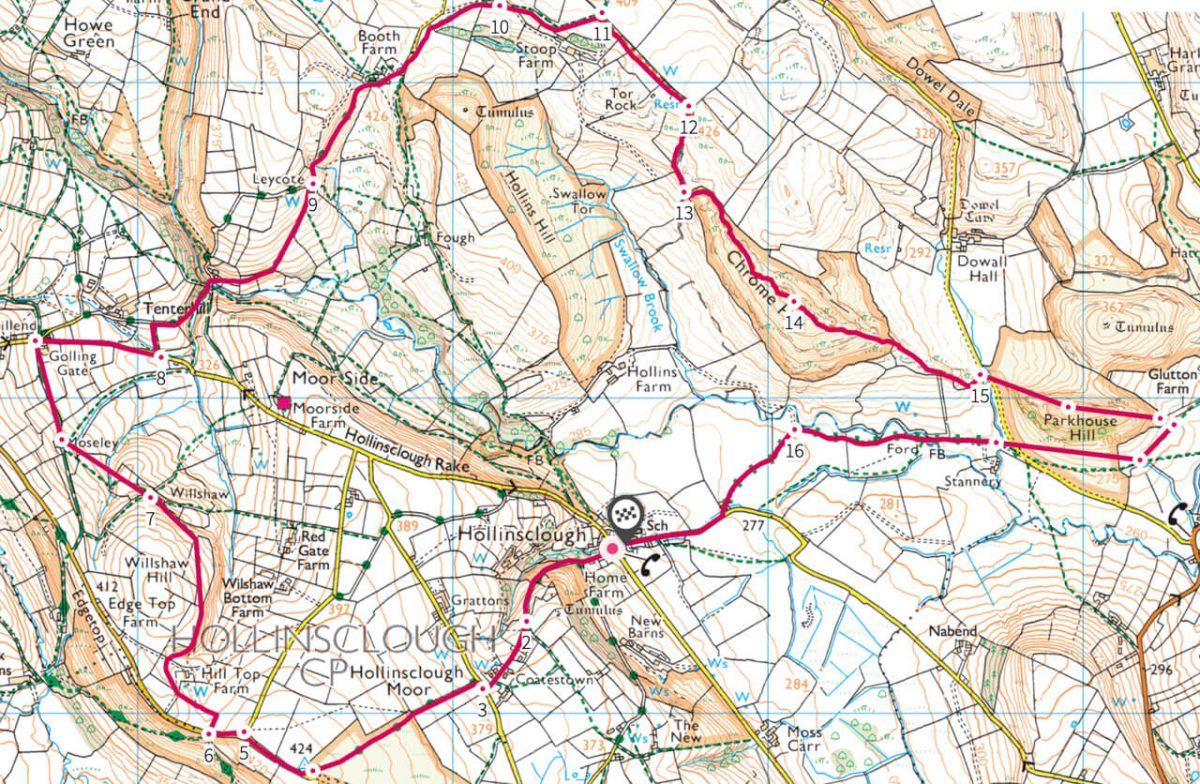 Parkhouse Hill and Chrome Hill walk map