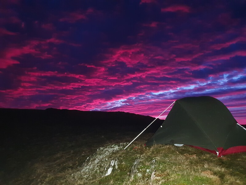 Sunrise on a winter wild camp