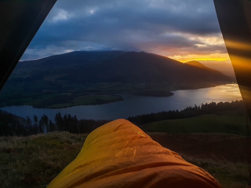 Views from tent with sleeping bag camping