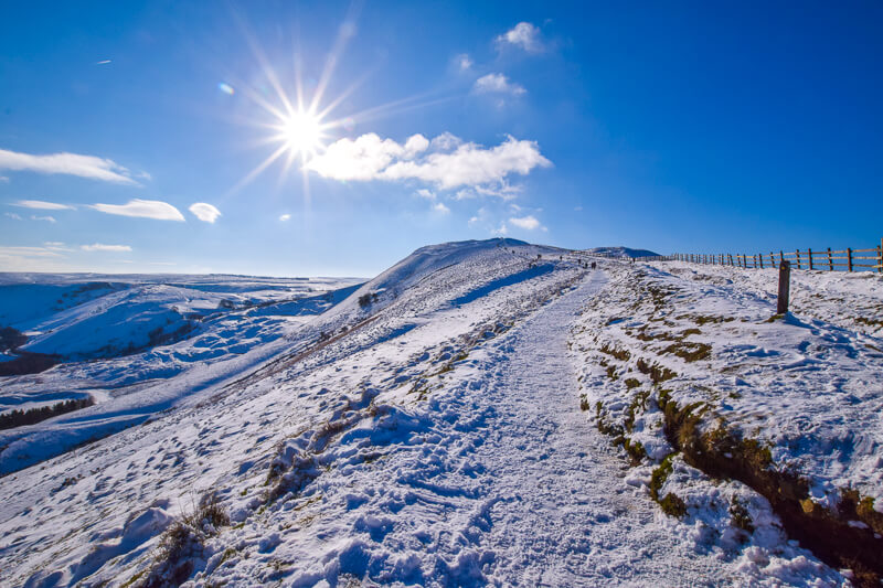 Snowy hills in the Peak District