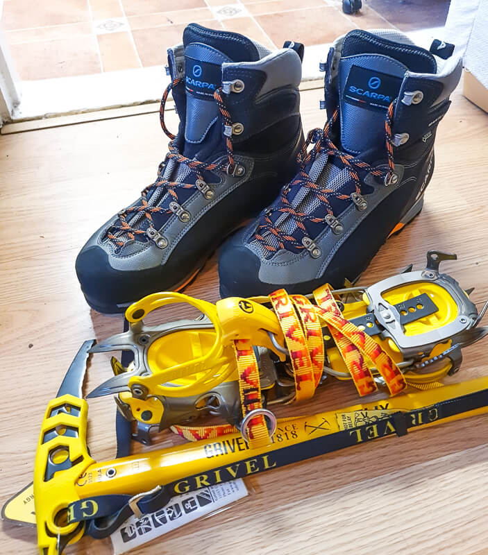 New hiking boots, crampons + ice axe