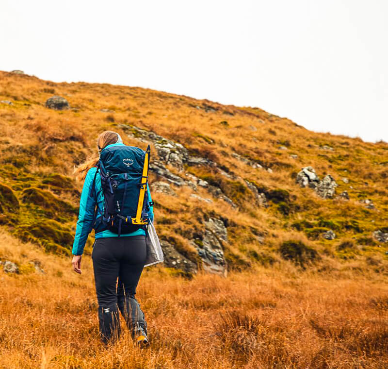 Hiking in Lake District with Osprey backpack