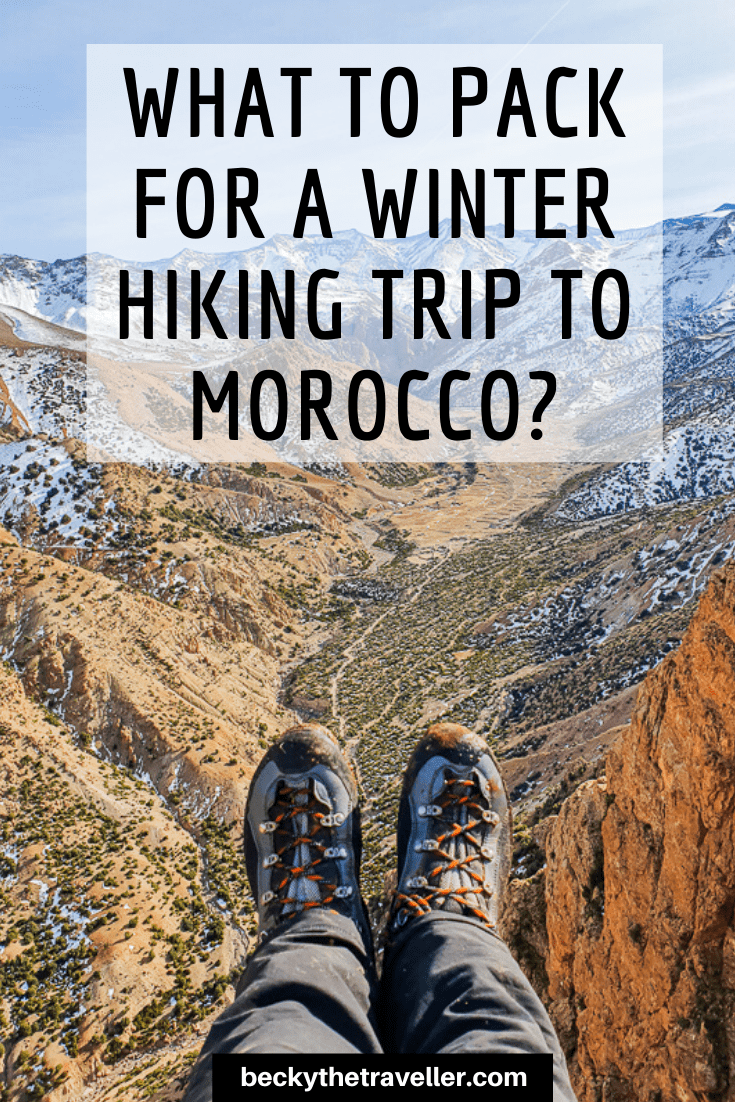 hiking boots in Atlas Mountains winter