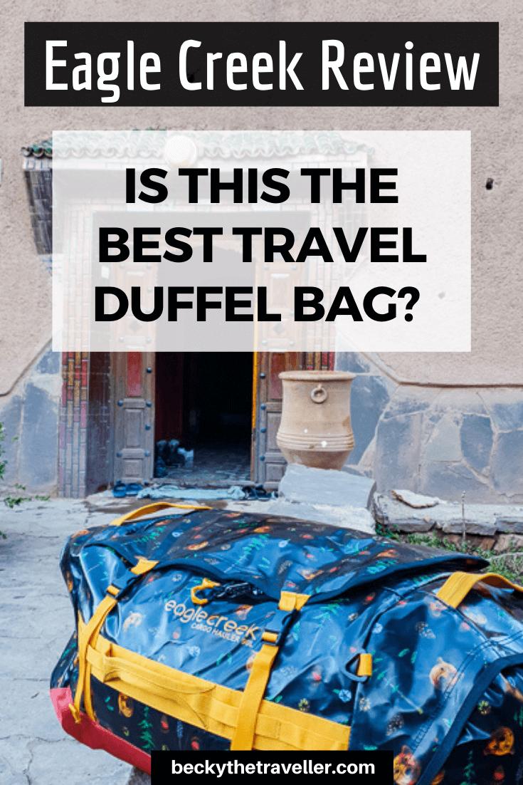 Eagle Creek Duffel bag outside Moroccan gite
