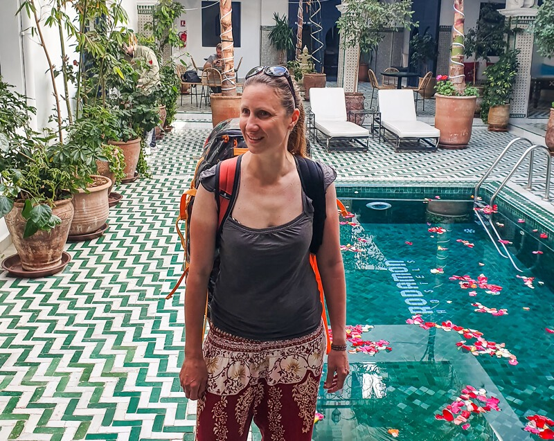 Wearing my duffel bag on my Morocco trip