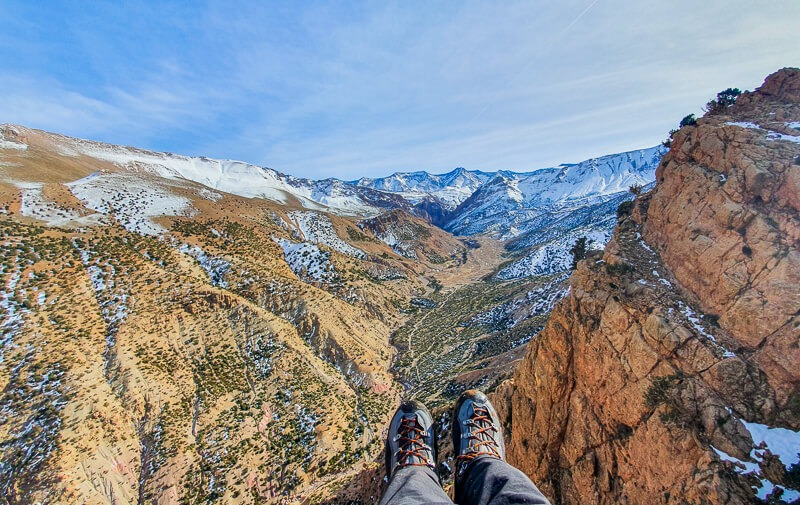 Hiking boots and Atlas Mountains Morocco
