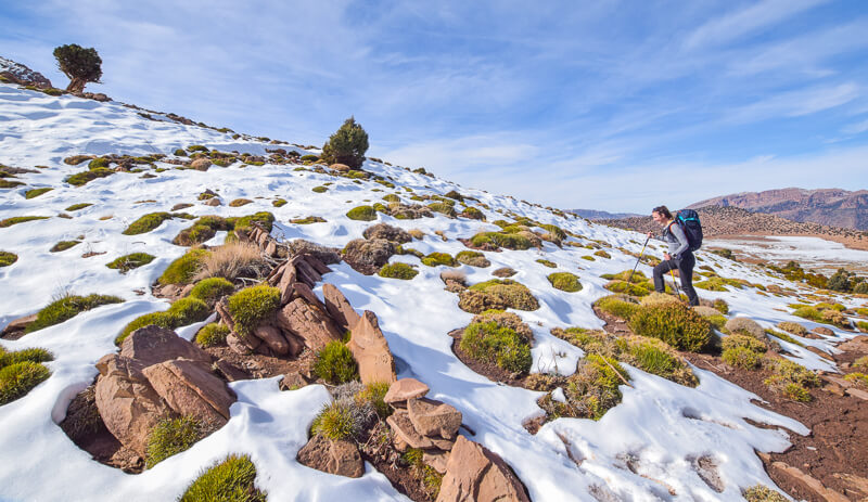 Hiking in the snow in the Atlas Mountains