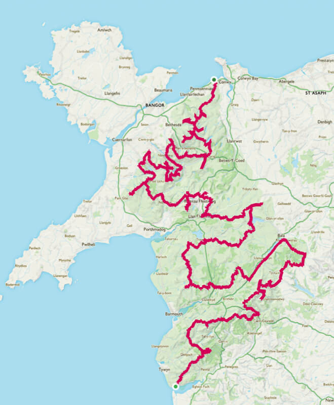 Snowdonia Challenge Map - Becky the Traveller