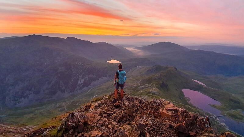 Crib Goch Snowdonia at sunrise
