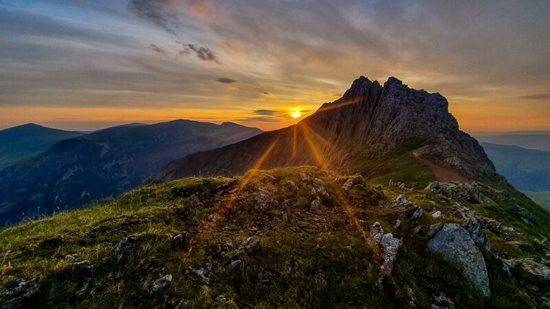 Sunrise on Crib Goch in Snowdonia