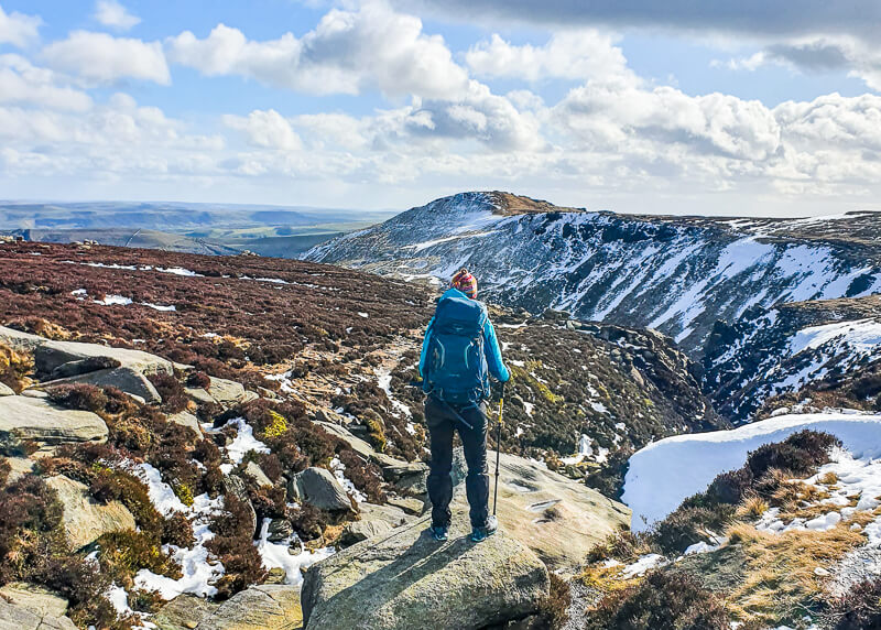 Hiking in Peak District on winter day
